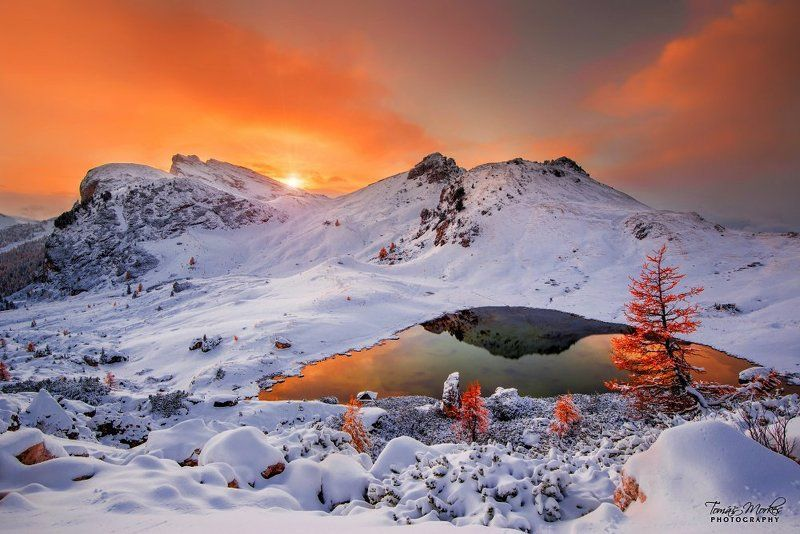 Dolomites, Italy, Alps, first snow, Südtirol, sun, clouds, sunset, beautiful place, passo Valparola, water, lake Dolomitesphoto preview