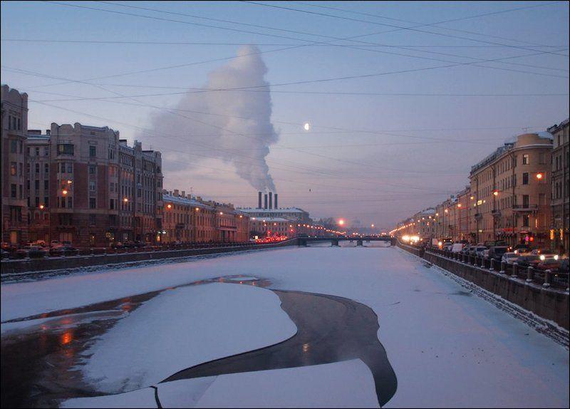 зимнее утро, река Фонтанка, Санкт-Петербург зимнее утро на Фонтанкеphoto preview