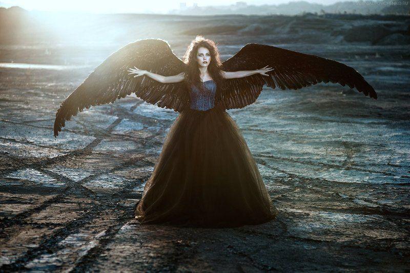 ангел, армагеддон, грусть, девушка, депрессия, крылья, летать, падший, пепел, перья, печаль, платье, полет, птица, пустыня, пышное, черный Лишь пепелphoto preview