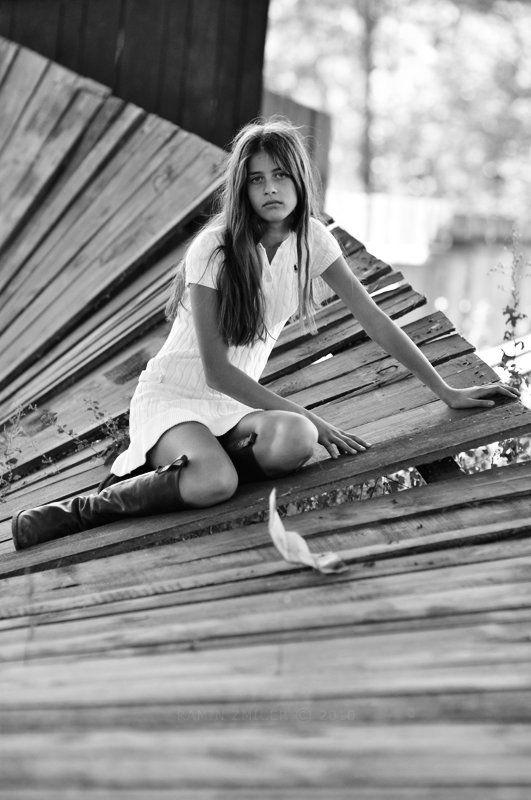 портрет, чб, девушка, лето Vestito Biancophoto preview