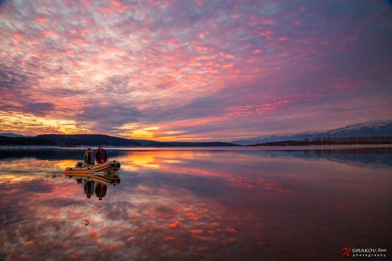 озеро, закат, landscape, lake, bulgaria, Koprinka, sky, night,  Мирной закат над озером Копринкеphoto preview