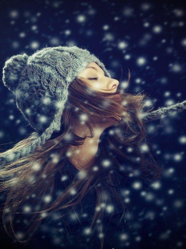 девушка, снег, шапка, пальто photo preview
