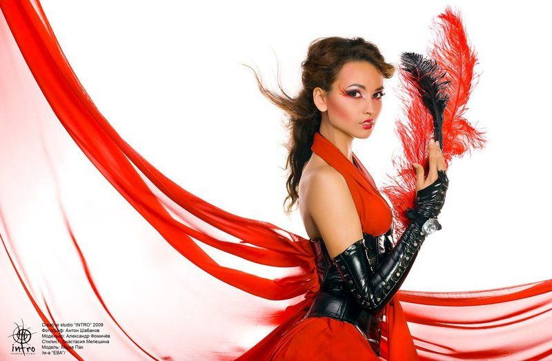 красное, черное, ткань, кожа, перья, мария, корея, гламур Красное и черное #2photo preview