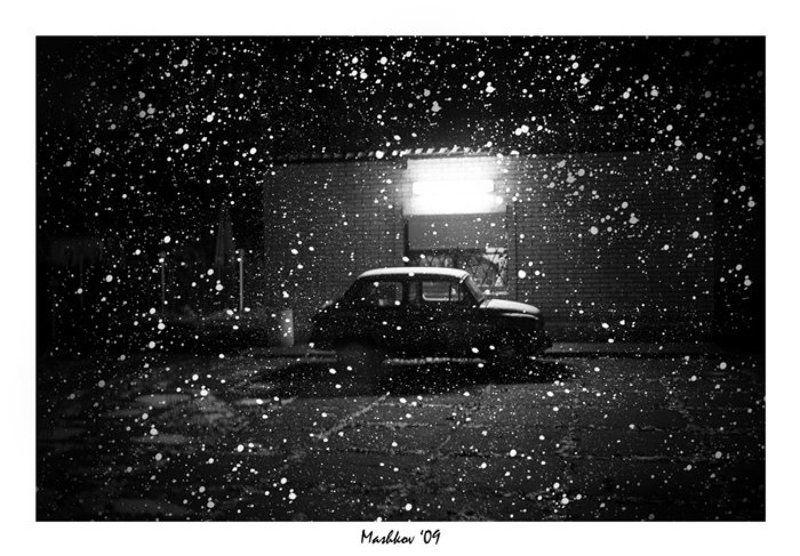 город, машина, снег, вечер Old Carphoto preview