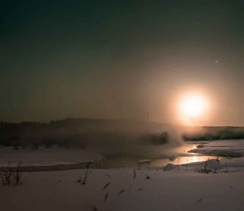 луна, ночь, пейзаж, река, туман восход луныphoto preview