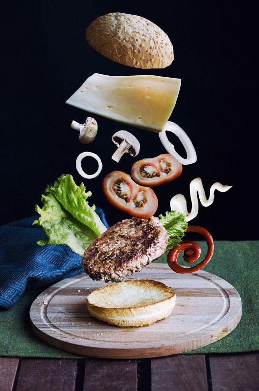 еда, аппетитно, бургер Летающий бургерphoto preview