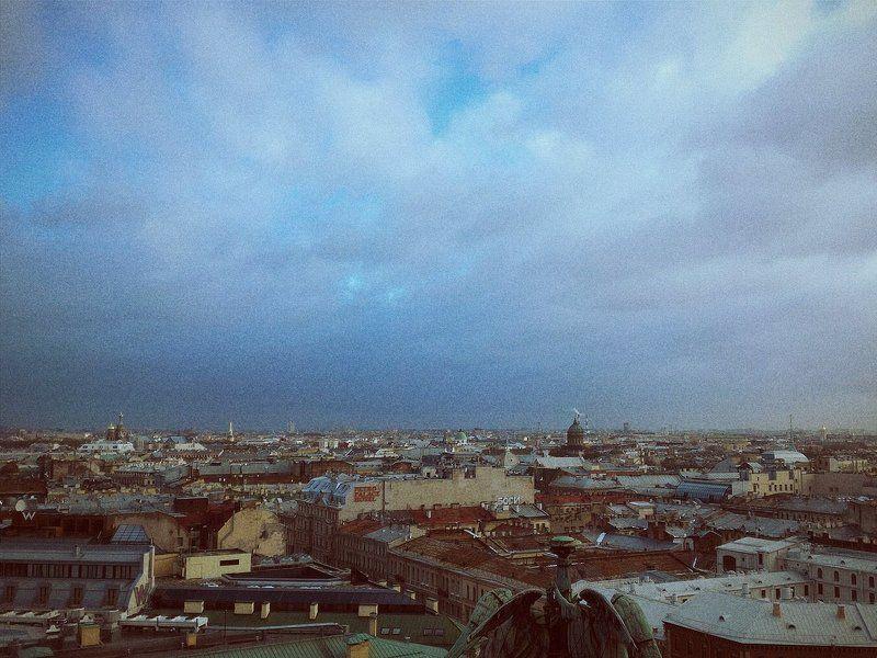 СПб, небо, пейзаж, Питер, зима, настроение, полёт небо над городомphoto preview