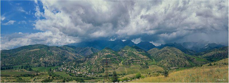 Горы, Дождь, Долина, Крым, Крымские горы, Облака, Панорама, Тучи, Чёрное море ...photo preview