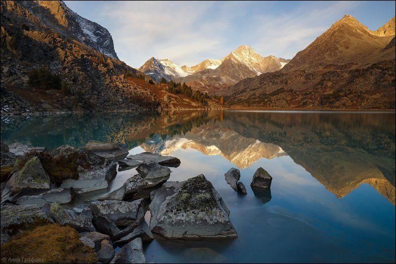 алтай, аня графова, горный алтай, горы, дарашколь, катунский хребет, сентябрь Утреннее зеркало Дарашколяphoto preview