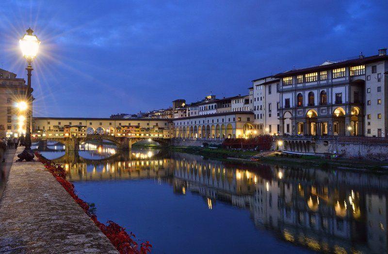италия, флоренция, понте, веккьо, ночь, italy, florence, ponte, vecchio, night Прогулка по ночной Флоренцииphoto preview