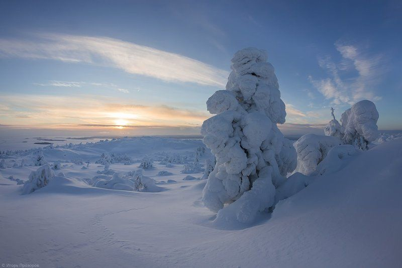 кольский полуостров, пейзаж, зима, закат В гостях у снежных великановphoto preview