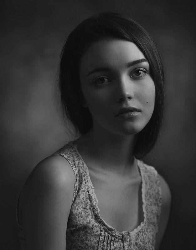 девушка, портрет, студия, свет, тень, взгляд ***photo preview