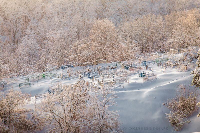природа, пейзаж, кладбище, крест, деревья, зима, снег, холод, мороз, Светлая грустьphoto preview