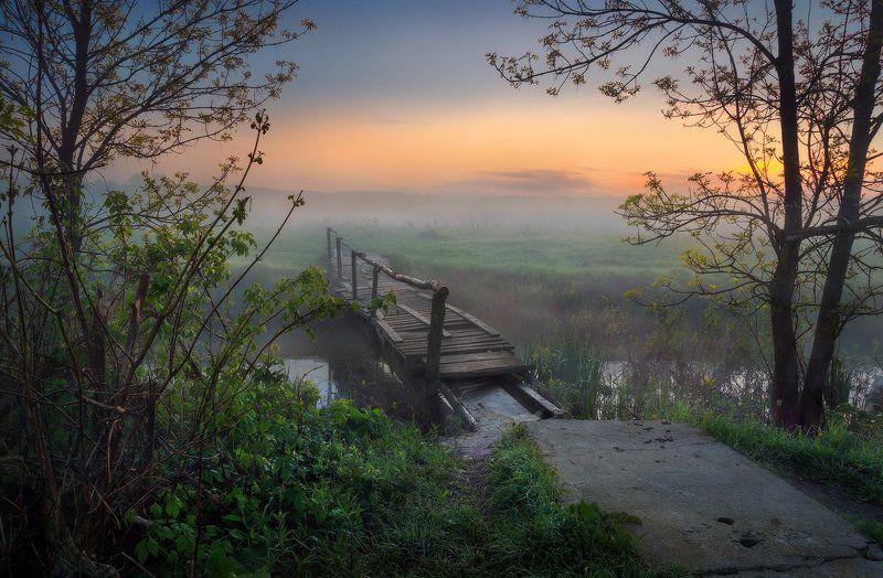 Sony, Мостик, Пейзаж, Река, Туман, Утро Мосток...photo preview