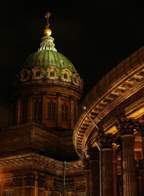 собор, казанский, питер, ночь, крест, купол, санкт-петербург Казанский Соборphoto preview