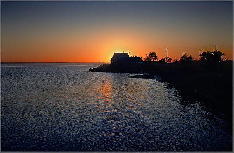 рыбалка, закат, природа Дом рыбакаphoto preview