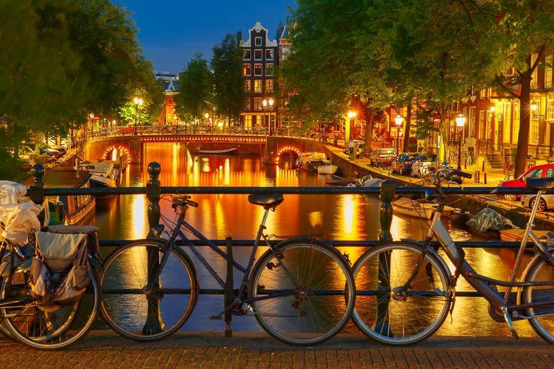 велосипеды, мост, канал, амстердам, голландия, нидерланды, ночь Ночной Амстердамphoto preview