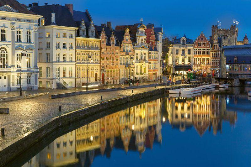 Набережная; Коренлей; река; Лейе, замок; Гравенштейн, Гент, Бельгия, отражения, вечер Отраженияphoto preview