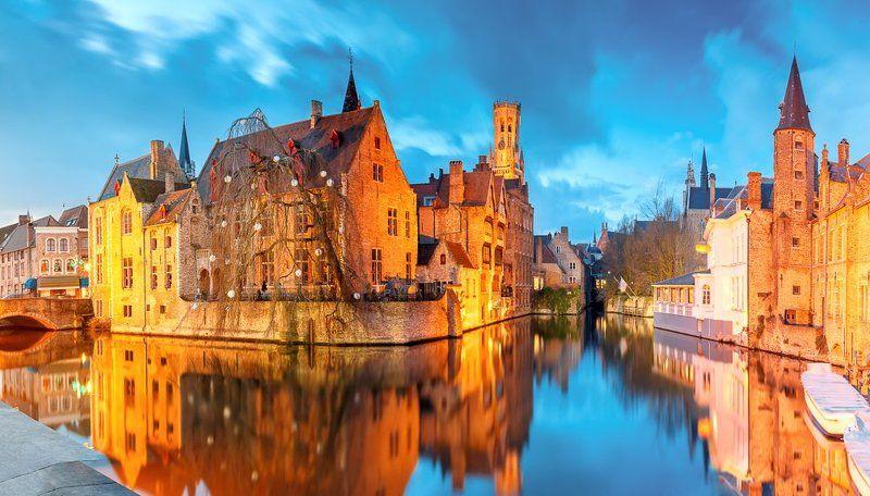 Брюгге, Бельгия, канал, река, башня, Белфорт Вечерний Брюггеphoto preview