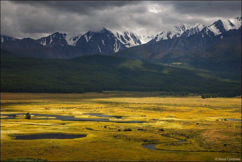 алтай, аня графова, горный алтай, горы, северо-чуйский хребет, урочище ештыкёль Хмурое лето урочища Ештыкёльphoto preview