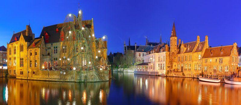 Брюгге, Бельгия, канал, река, ночь, рождество, зима, отражения Рождественский Брюггеphoto preview