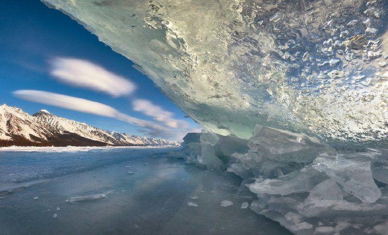 Байкал, зима, лёд, торосы, горы, небо, облака, Заворотный Глазами нерпыphoto preview