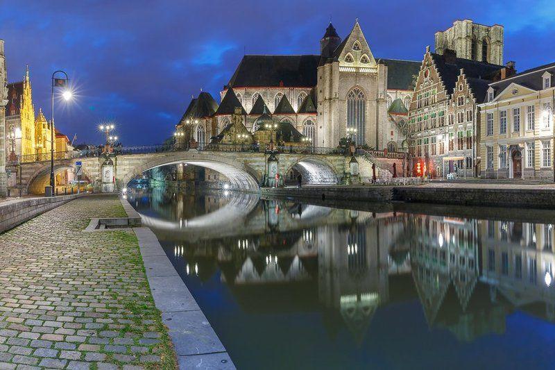 набережная, граслей, мост, церковь, вечер, гент, бельгия, отражения, река, лейе Еще отражения, Гентphoto preview