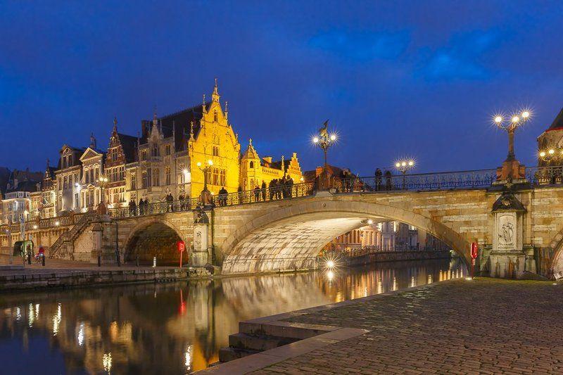 гент, бельгия, мост, река, лейе, набережная Мост Святого Михаила в Гентеphoto preview