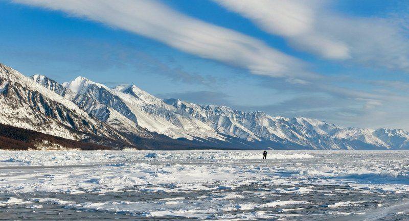 Байкал, Байкальский хребет, лёд, горы, снег, зима, облака Прогулка вдоль Байкальского хребтаphoto preview