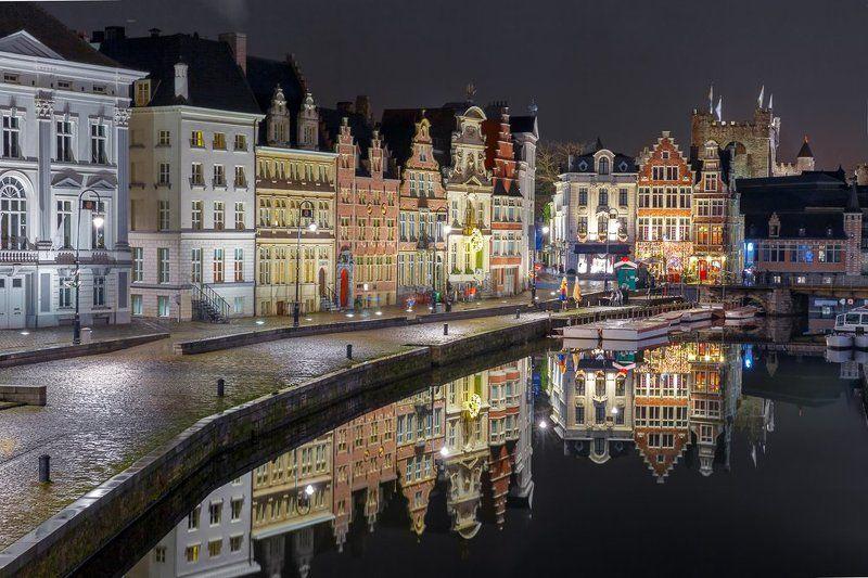 Гент, Коренлей, Лейе, река, набережная, Бельгия, Фландрия Отражения. Набережная Коренлейphoto preview