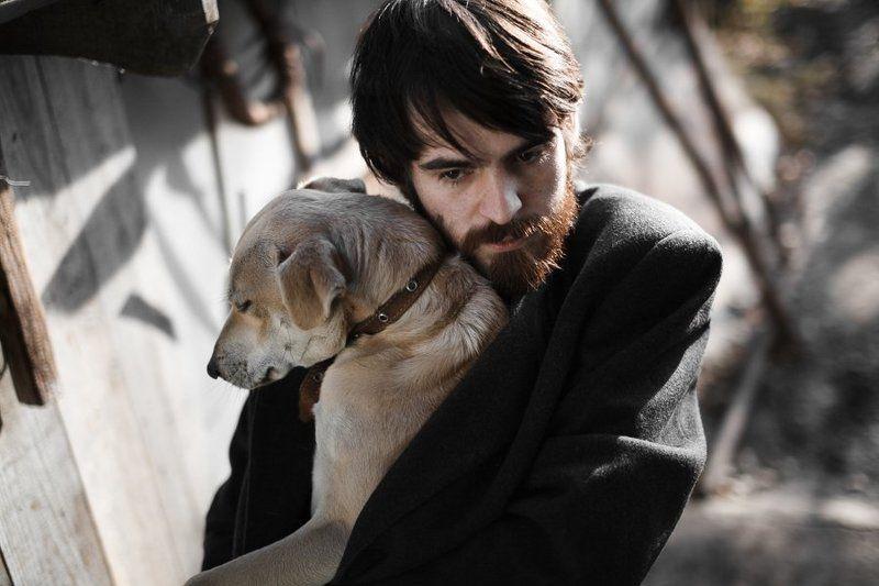 собака, парень, пёс, пес, холод, солнце Парень и его пёсphoto preview
