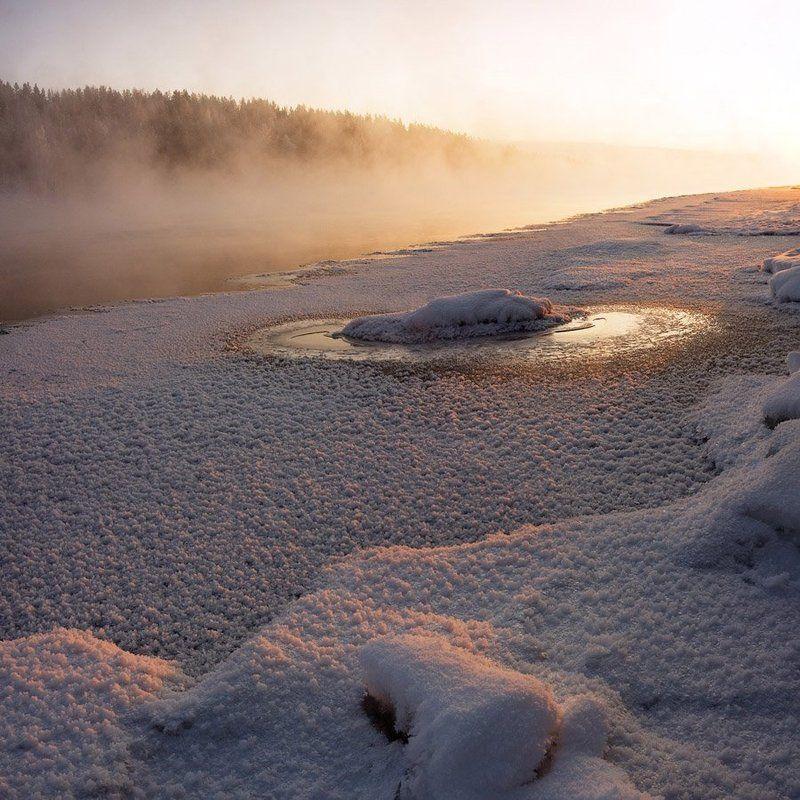 пейзаж,природа,река,зима,север Морозным вечером....Текстурная зарисовкаphoto preview