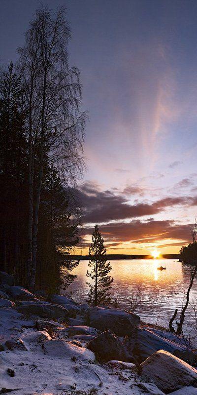 природа,север,зима,закат На вечерней зорьке....Пинозероphoto preview