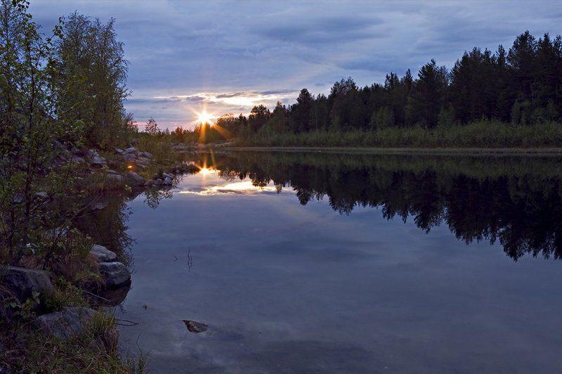 пейзаж,лето,север,озеро Утро полярного дняphoto preview