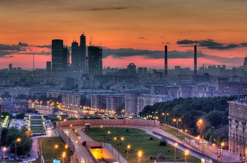 крыша, крыши, москва, город, закат, вечер, лето, ммдц, сити, just cause, небоскрёбы Москва в стиле Just Causephoto preview