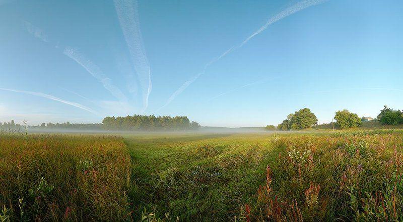 лето,утро,туман,природа,панорама из 8 верт. кадров *******photo preview