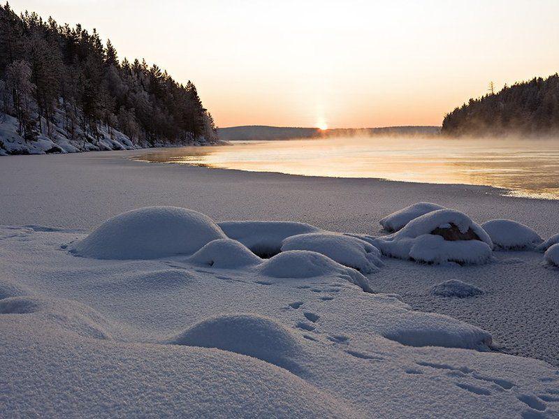 пейзаж,север,зима,река Морозным вечером...2photo preview