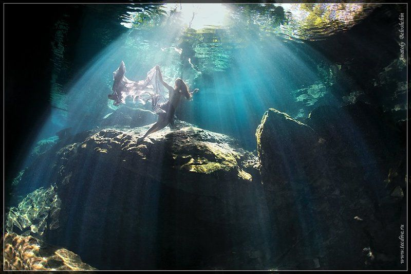 mexico, underwater, photo, cave, chak, chac, mool, anatoly, beloshchin, nude, fashion, seacam, canon, 5d, mark, ii Клетка для русалки (подводное фото)photo preview