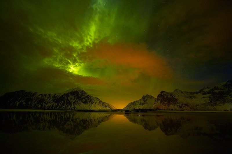 Aurora borealis, Lofoten, Norway, Ramberg, Skagsanden, Skagsanden beach, Горы, Отражение, Пляж, Северное сияние, Сияние ***photo preview