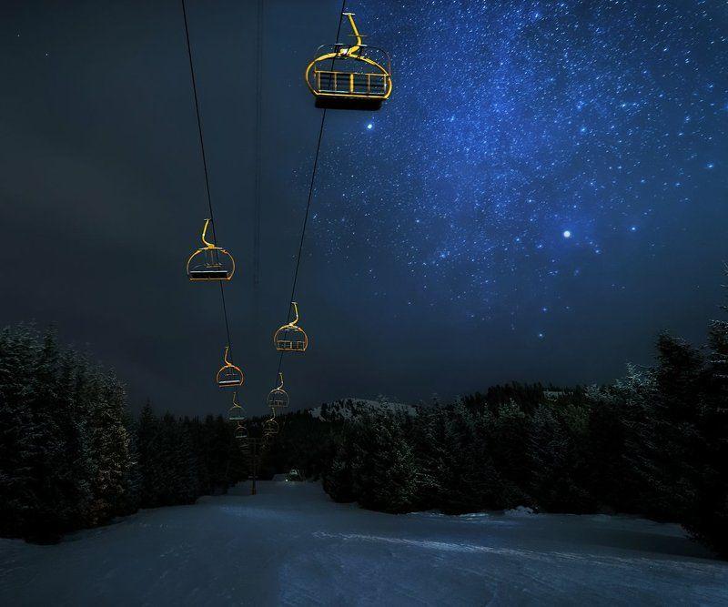 горы, каракол, киргизия, звезды, астропейзаж Ночь на горнолыжной базеphoto preview