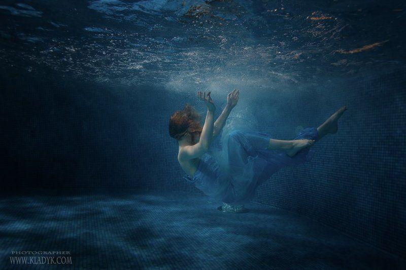 девушка, подводная, бассейн, ***photo preview