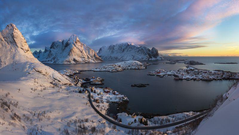 Lofoten, Norway, Panorama, Reine Панорама Рейнеphoto preview