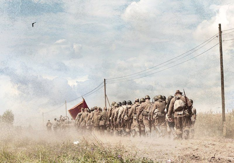 Война, Дорога, Красное знамя, Отряд, Поле дорога, Солдаты Дорога на небо...photo preview