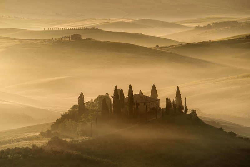 Italy, Tuscany, Pienza,  San Quirico d´Orcia, mist, sunrise, fog, spring, belvedere, beautiful place, beautiful, Europe, foggy morning, cypres,   Tuscanyphoto preview