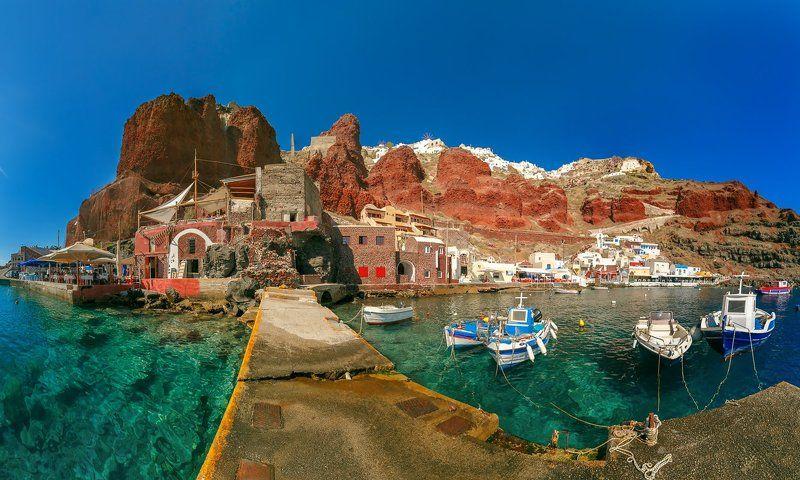 Ойя, Тира, Санторини, Греция, море, порт Старый порт на Санториниphoto preview