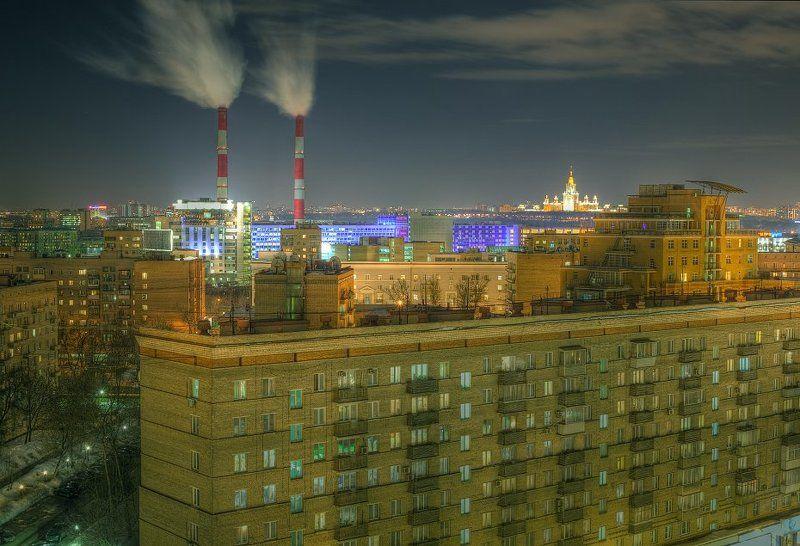 крыша, крыши, город, москва, зима, трубы, ночь, пар Шпарятphoto preview