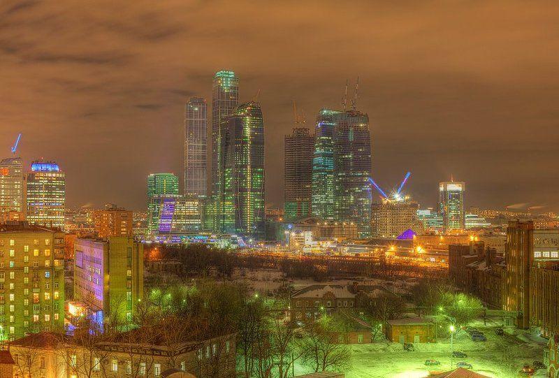 крыша, крыши, город, москва, ночь, ммдц, сити Кислотный ММДЦphoto preview