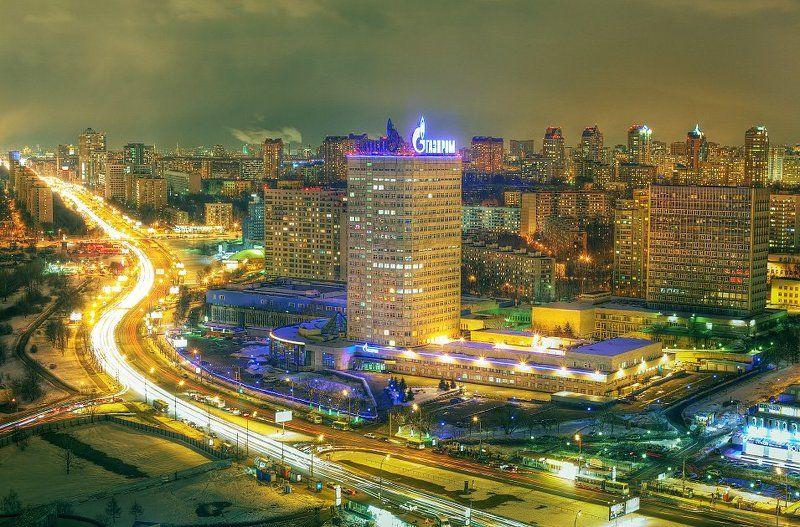 крыша, крыши, город, москва, ночь, газпром, ...photo preview