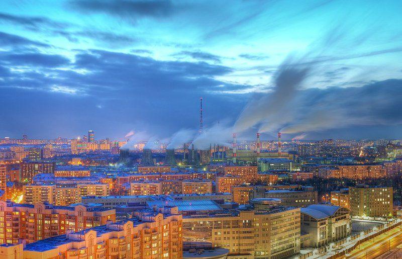 крыша, крыши, город, москва, ночь, пар, трубы Парыphoto preview