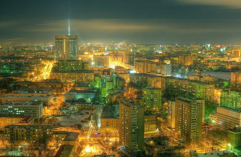 крыша, крыши, ночь, москва, город ...photo preview